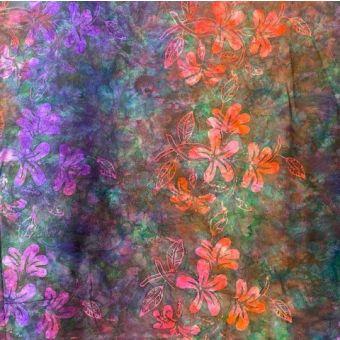 Tissu coton batik fleur mauve