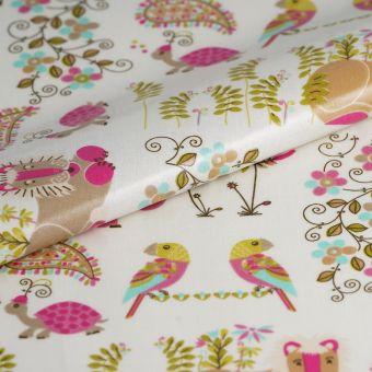 Tissu enduit épais forêt indienne multicolore