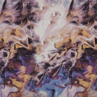 Tissu jersey polyamide / yoga imprimé gasoline multicolore