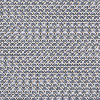 Tissu coton imprimé japonais éventails bleu pétrole