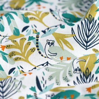 Tissu cretonne blanche lémuriens