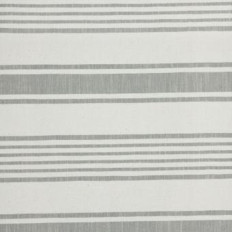 Tissu épais rayures horizontales Baya écru et gris