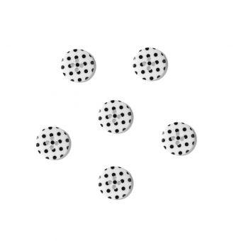 Boutons blanc à pois noirs 18 mm