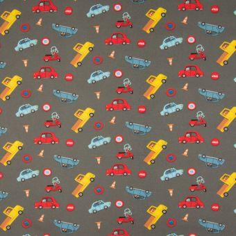 Tissu popeline coton à motifs scooters gris