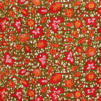 Tissu wax motifs fleurs champètres rouge