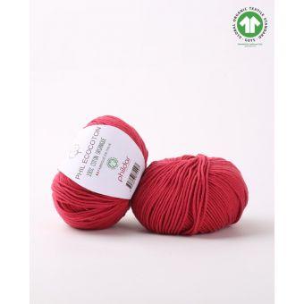 Pelote de coton à tricoter Phildar Ecocoton griotte