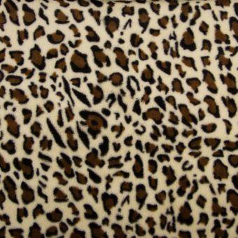 Tissu fausse fourrure léopard écru