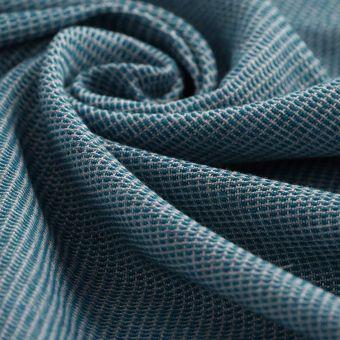 Tissu double natté lainage bleu canard