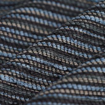 Tissu velours chenille rayures bleues