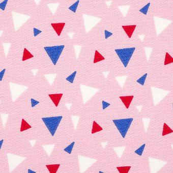 Tissu sergé de coton rose triangles