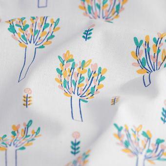 Tissu coton blanc arbres en fleurs