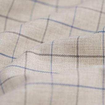 Tissu gabardine coton polyester recyclé carreaux