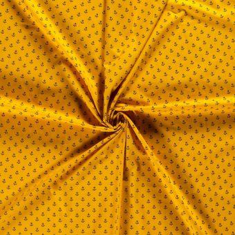 Tissu popeline coton jaune ancres