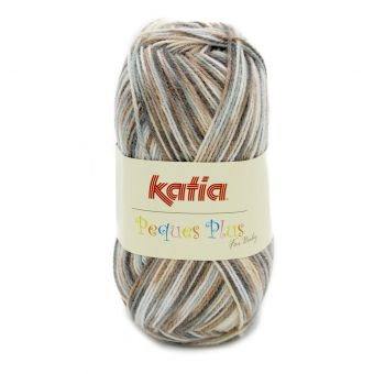 Fil à tricoter Katia Peques Plus écru et beige.