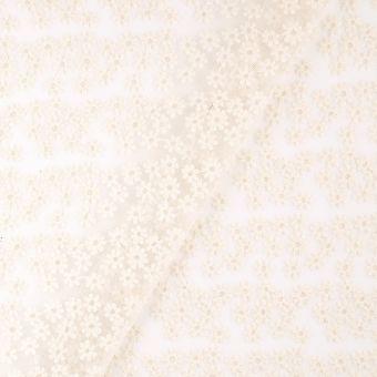 Tissu voile brodé marguerite blanc