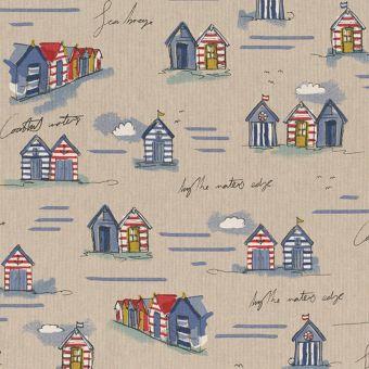 Tissu bachette effet lin motifs maisonettes de plage