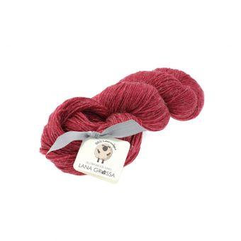 Fil à tricoter laine et lin rouge framboise