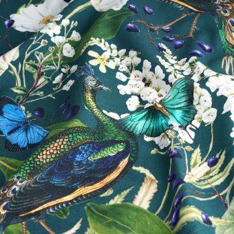 Tissu coton épais Paon royal