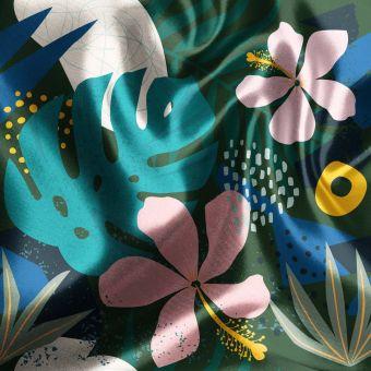 Tissu satin recyclé jungle tropical vert - La Panda Love Fabrics