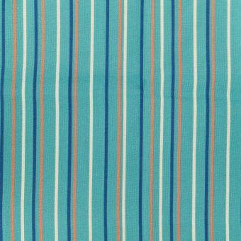 Coupon de tissu bleu rayures colorées