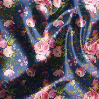 Tissu satin recyclé roses de nuit - La Panda Love Fabrics