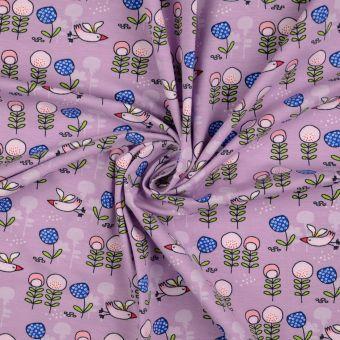Tissu jersey coton oiseaux