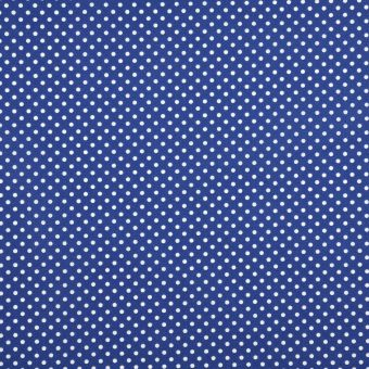 Tissu coton ponto motif petits pois bleu marine