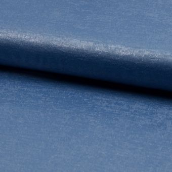 Tissu voile brillant bleu jean