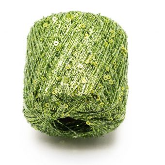 Pelote à tricoter brillante pluie d'étoiles vert - Plassard