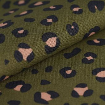Tissu coton épais léopard vert kaki