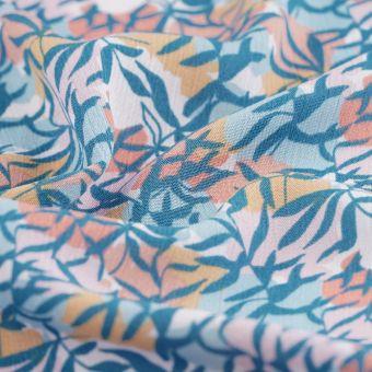 Tissu crêpe viscose feuillage bleu