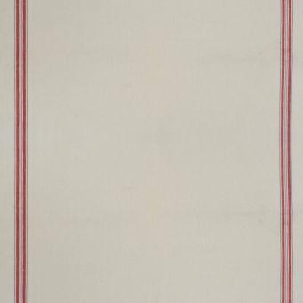 Tissu toile torchon 100% coton écru rayé rouge