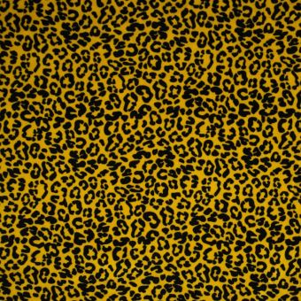 Tissu velours éponge bio léopard jaune