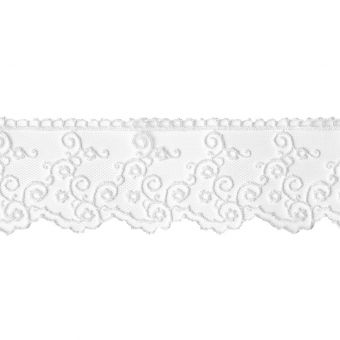 Ruban dentelle fine 40 mm blanc