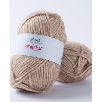Pelote de fil à tricoter Phildar Frimas camel