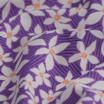 Tissu cretonne bio violet fleurs blanches