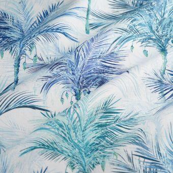 Tissu coton épais palmiers bleus
