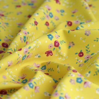 Tissu maillot de bain jaune fleurs