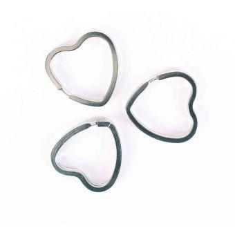 Attache porte-clés coeur argenté 3,5 cm x 6 pièces