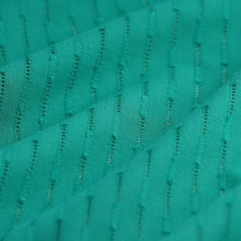 Tissu voile de coton ajouré vert