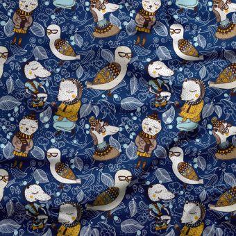 Tissu oxford pour chemise imperméable et recyclé dodo animaux - La Panda Love Fabrics
