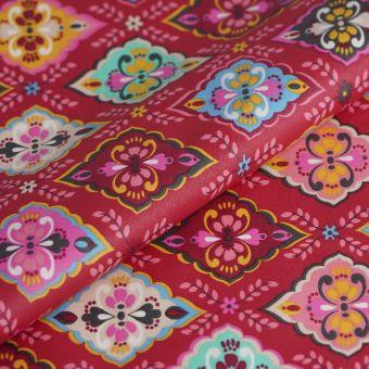 Tissu cretonne enduite folk rose fleurs