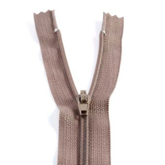 Fermeture polyester non séparable à glissière - Marron