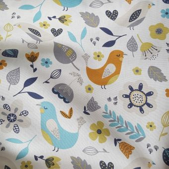 Bachette Delarna motifs oiseaux orange et bleu