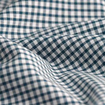 Tissu vichy coton bleu canard