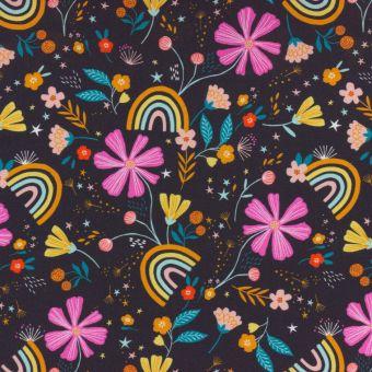 Tissu popeline de coton anthracite imprimés fleurs et arcs-en-ciel Dashwood Studio