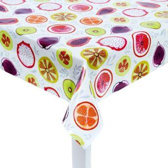 Tissu coton enduit épais fruits multicolores