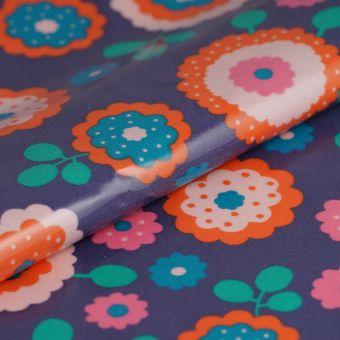 Tissu enduit pvc folk bleu imprimé fleurs