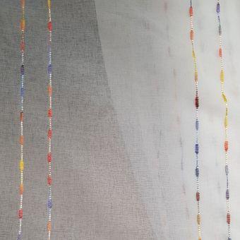 Tissu voile bordé pointillés multicolore - Non plombé