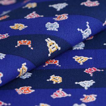 Tissu coton bleu monstre pixel